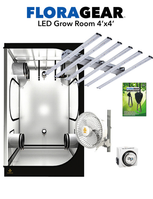 FloraGear™ Flora X6 & Secret Garden Dark Room™ 4'x4' LED Grow Room Kit nehydro.com