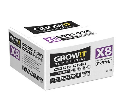 "GROW!T Commercial Coco X8 Block 8""x8""x6"" case 20ct"