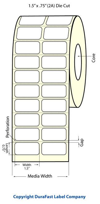 "TM-C3500 1.5"" x .75"" Inkjet (2A) Matte Paper Label 2750/Roll  - 812007"