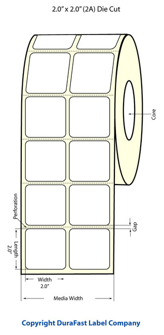"TM-C3500 2"" x 2"" Inkjet (2A) Matte Paper Label 1130/Roll  - 812012"