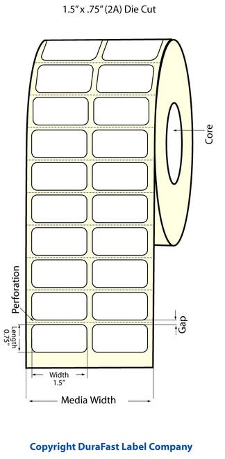"""TM-C3500 1.5"""" x .75"""" Inkjet (2A) Matte BOPP Label 2750/Roll  - 814007"""