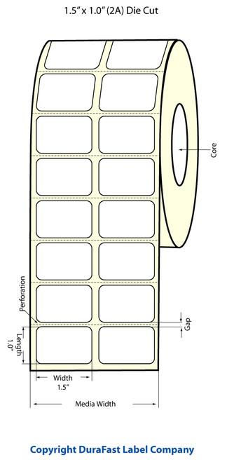 """TM-C3500 1.5"""" x 1"""" Inkjet (2A) Matte BOPP Label 2150/Roll  - 814008"""