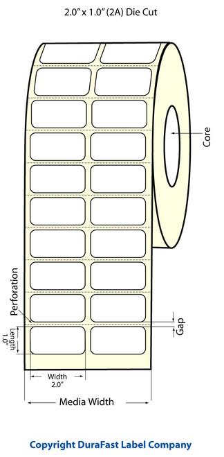 """TM-C3500 2"""" x 1"""" Inkjet (2A) Matte BOPP Label 2150/Roll  - 814010"""