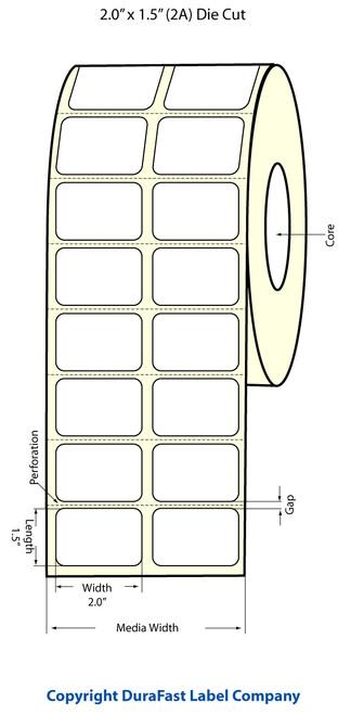 """TM-C3500 2"""" x 1.5"""" Inkjet (2A) Matte BOPP Label 1480/Roll  - 814011"""
