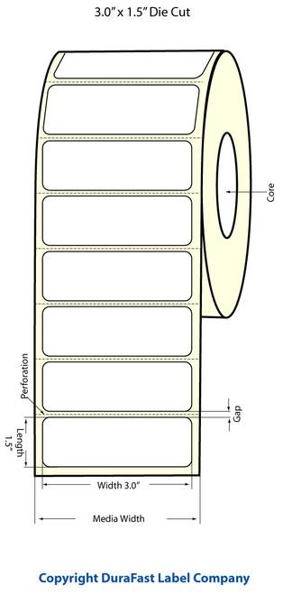 """TM-C3500 3"""" x 1.5"""" Inkjet (1A) Matte BOPP Label 740/Roll  - 814014"""