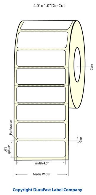 """TM-C3500 4""""x 1"""" (1A) Inkjet Matte BOPP Label 1070/Roll  - 814017"""