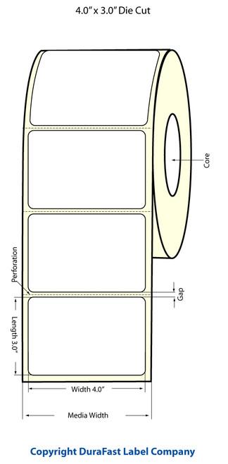 """TM-C3500 4"""" x 3"""" Inkjet (1A) Matte BOPP Label 380/Roll  - 814020"""