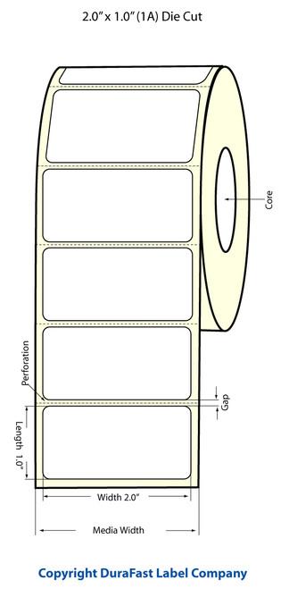 """TM-C3500 2"""" x 1"""" Inkjet (1A) Matte BOPP Label 1070/Roll  - 814026"""