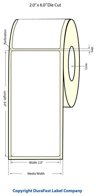 """TM-C3500 2"""" x 6"""" Inkjet (1A) Matte BOPP Label 190/Roll  - 814024"""