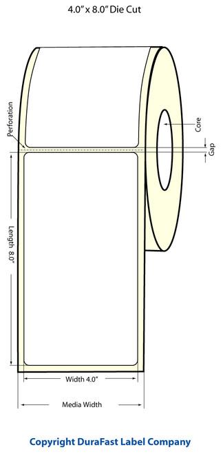 """TM-C3500 4"""" x 8"""" Inkjet (1A) Matte BOPP Label 140/Roll  - 814025"""