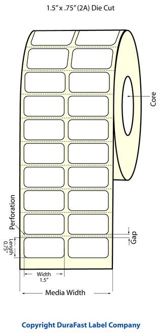 "TM-C3500 1.5"" x .75"" Inkjet (2A) Chemical Label 2460/Roll  - 815007"