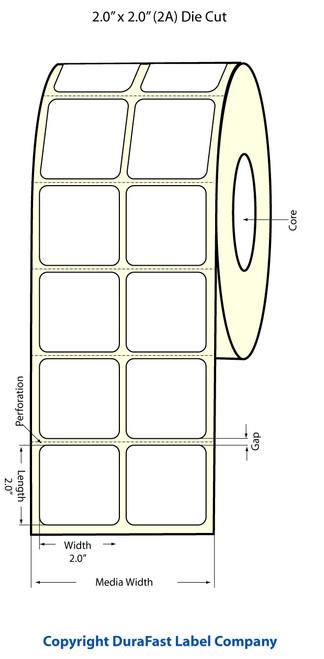 "TM-C3500 2"" x 2"" Inkjet (2A) Chemical Label 1000/Roll  - 815012"