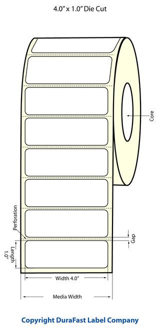 "TM-C3500 4"" x 1"" Inkjet (1A) Chemical Label 950/Roll  - 815017"
