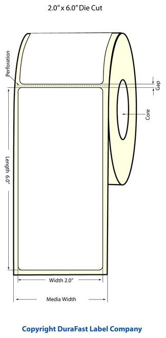 "TM-C3500 2"" x 6"" Inkjet (1A) Chemical Label 175/Roll  - 815024"