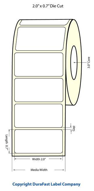 "LX900 2"" x 0.70"" Inkjet NP High Gloss Paper Labels 2750/Roll  - 931018"