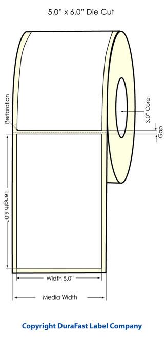 "LX900 5"" x 6"" Inkjet High Gloss Paper Labels 400/Roll  - 931011"