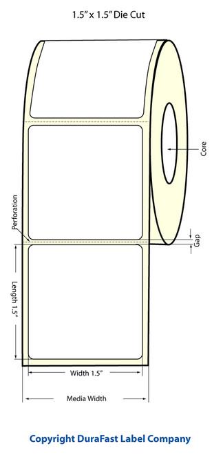 """LX500 1.5"""" x 1.5"""" Inkjet Matte BOPP Labels 1200/Roll  - 923004"""