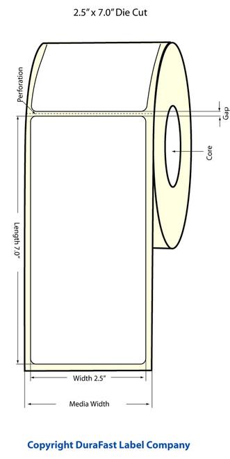 """LX500 2.5"""" x 7"""" Inkjet Matte BOPP Labels 250/Roll  - 923002"""