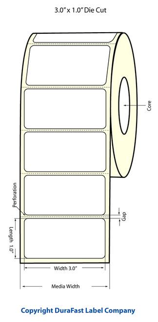 """LX500 3"""" x 1"""" Inkjet Matte BOPP Labels 1700/Roll  - 923005"""