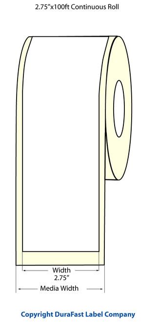 """TM-C3500 2.75""""x 100 ft Inkjet High Gloss Paper Label Roll  - 811038"""