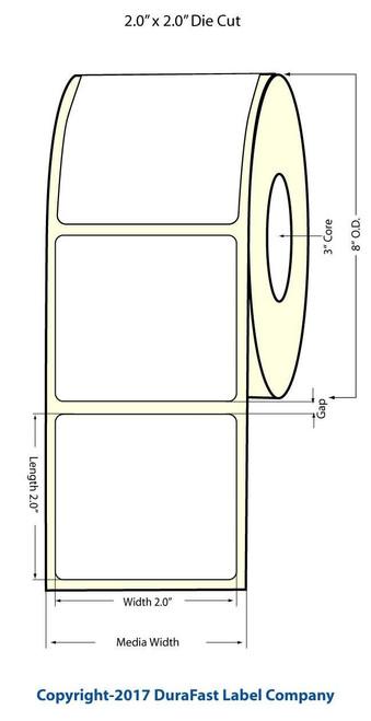 "TM-C7500G 2"" x 2"" Inkjet NP Glossy BOPP Labels 3000/Roll 8"" OD  - 554033"
