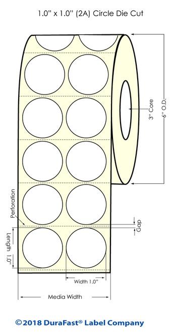 """Inkjet 1"""" Circle [2 Inkjet Across] InkjetMatte Paper Labels 4000/Roll"""