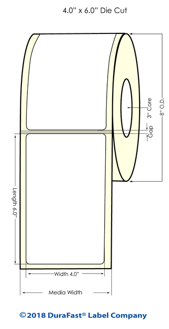 "TM-C7500 4"" x Inkjet 6"" NP Matte Paper Label 900/Roll"