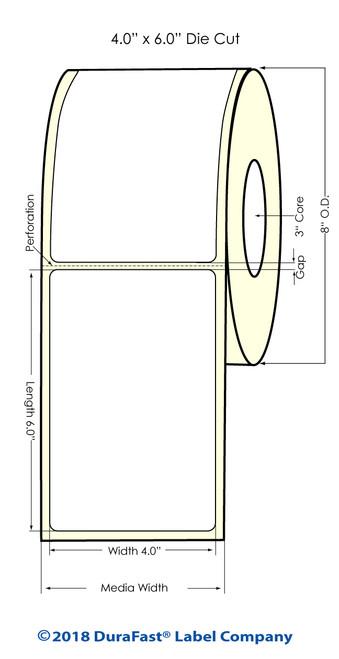 "TM-C7500 4"" x 6"" Inkjet (8' OD) Matte BOPP Label 800/Roll"