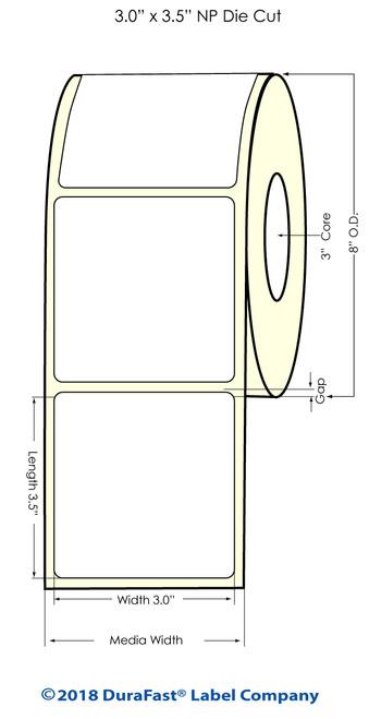 """L801 3"""" x 3.5"""" Inkjet NP Matte BOPP Label 1400/Roll"""