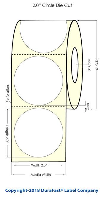 "LX2000 2"" Circle Chemical Inkjet Label 1000/Roll"