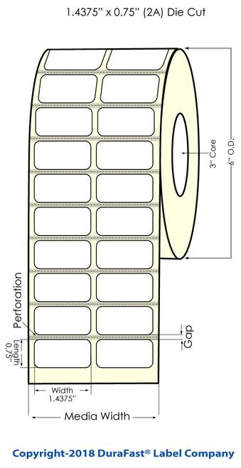 "TM-C7500 1.4375"" x 0.75"" Inkjet (2UP with Black Eyemark) Chemical Label 4000/Roll"