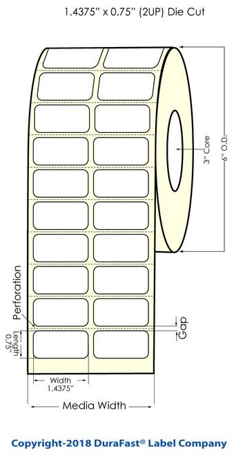 "TM-C7500 1.4375"" x 0.75"" Inkjet (2UP) Chemical Label 4000/Roll"