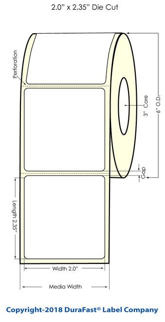 "TM-C7500 2"" x 2.38"" Inkjet Chemical Label 850/Roll"