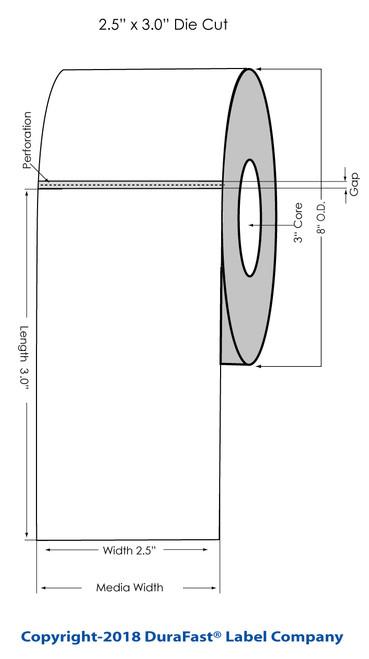 """TM-C7500 2.5"""" x Inkjet 3"""" Matte Tags 1500/Roll"""