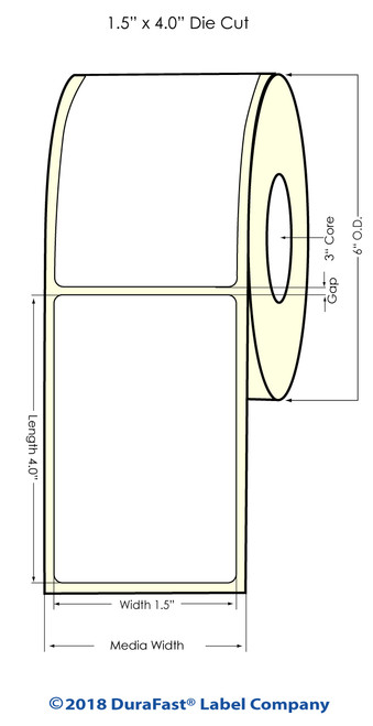 "L801 1.5"" x 4"" Inkjet NP High Gloss Paper Label 1200/Roll"