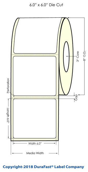"L801 6"" x 6"" Inkjet (8"" OD) Clear Polyester Label 950/Roll"