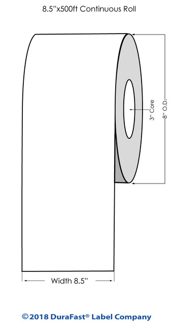 "L801 8.5"" x 500ft Inkjet Glossy BOPP Label Roll"