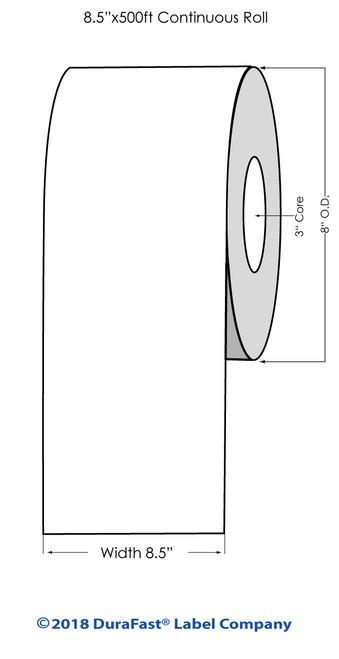 "L801 8.5"" x 500ft Inkjet Clear Glossy BOPP Label Roll"
