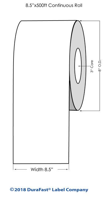 "L801 8.5"" x 500ft Inkjet Matte BOPP Label Roll"