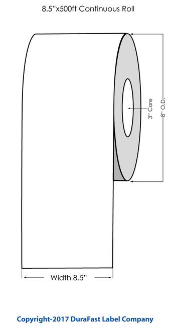 "L801 8.5"" x 500ft Inkjet Gold Polyester Label Roll"