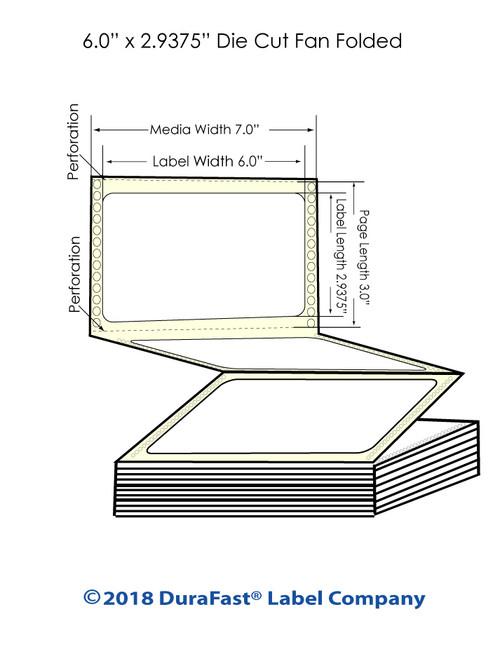 "GP-C831 6"" x 2.9375"" Inkjet High Gloss Paper Labels 3400/Carton"