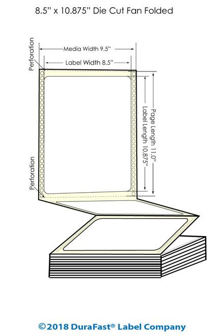 "GP-C831 8.5"" x 10.875"" Inkjet Matte BOPP Labels - 800/Carton"