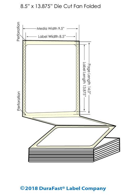 "GP-C831 8.5"" x 13.875"" Inkjet Matte BOPP Labels - 800/Carton"