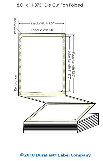 "GP-C831 8"" x 11.875"" Inkjet Matte BOPP Labels - 800/Carton"