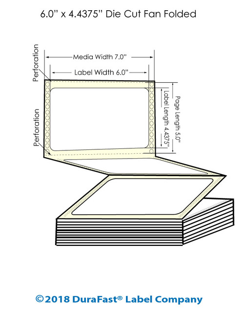 "GP-C831 6"" x 4.4375"" Inkjet Matte BOPP Labels - 1600/Carton"