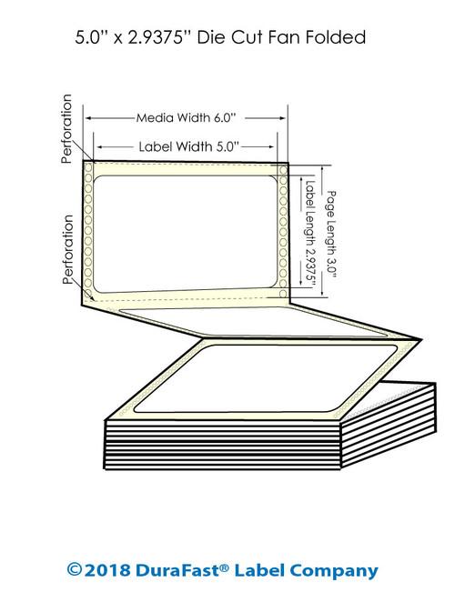 "GP-C831 5"" x 2.9375"" Inkjet Matte BOPP Labels - 3200/Carton"