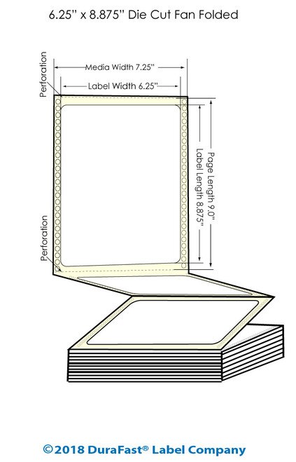 "GP-C831 6.25"" x 8.875"" Inkjet Matte BOPP Labels - 800/Carton"