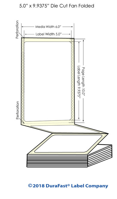 "GP-C831 5"" x 9.9375"" Inkjet Matte BOPP Labels - 800/Carton"