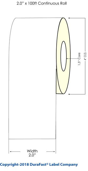 "TM-C3500 2"" x 100ft Inkjet Chemical Tag Roll"
