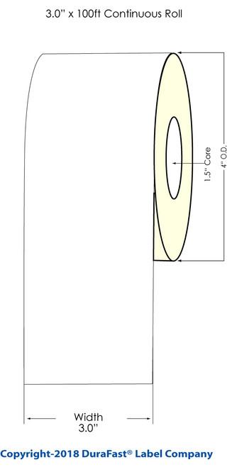 "TM-C3500 3"" x 100ft Inkjet Chemical Tag Roll"